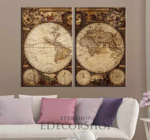 Large Wall Art Canvas Vintage World Map Canvas Print | Atlas Canvas Art Print | Old World Map Canvas-Wall Art Canvas-Extra Large Wall Art Canvas Print-Extra Large Wall Art Canvas Print