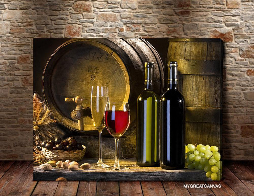 Large Wall Art Canvas White Wine and Wine Bottle Giclee Canvas Art Print | Wineglass Art Canvas Print - Large Size Wall Art-Wall Art Canvas-Extra Large Wall Art Canvas Print-Extra Large Wall Art Canvas Print