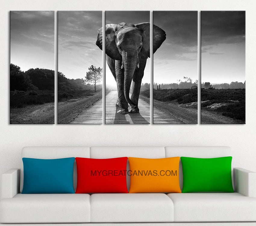 "Large Wall Art Canvas Wild Elephant on the Road Art Prints For Wall, EXTRA LARGE 60""32"" Ready to Hang, Elephant Photo Print On Canvas,-Wall Art Canvas-Extra Large Wall Art Canvas Print-Extra Large Wall Art Canvas Print"