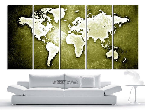 Large Wall Art Canvas WORLD MAP on Metal Iron Background Print - World Map 5 Piece Canvas Art Print - Ready to Hang - 5 Color World Map - MC244-Wall Art Canvas-Extra Large Wall Art Canvas Print-Extra Large Wall Art Canvas Print