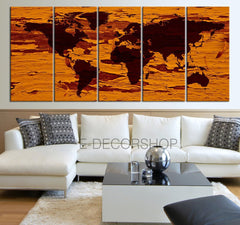 Large Wall Art Canvas World Map on Old Wood Background - Framed Giclee Map Canvas - Ready to Hang - Yellow World Map-Wall Art Canvas-Extra Large Wall Art Canvas Print-Extra Large Wall Art Canvas Print