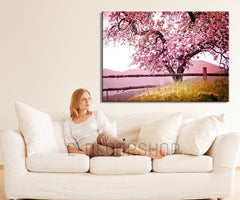 Large Wall Art Cherry Blossom Canvas Print, Large Canvas Print, Almond Tree, Hang Ready, Custom Canvas Printing, Botanical Decor Theme-Wall Art Canvas-Extra Large Wall Art Canvas Print-Extra Large Wall Art Canvas Print
