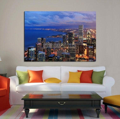 Large Wall Art CHICAGO Canvas Print - Chicago at Sunset with Ocean Landscape-Wall Art Canvas-Extra Large Wall Art Canvas Print-Extra Large Wall Art Canvas Print