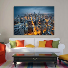 Large Wall Art CHICAGO Canvas Print - Chicago Buildings with Yellow Lighted Roads-Wall Art Canvas-Extra Large Wall Art Canvas Print-Extra Large Wall Art Canvas Print