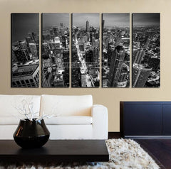 Large Wall Art CHICAGO Canvas Print - Chicago Skyline at Night from the John Hancock Building Black and White - MC249-Wall Art Canvas-Extra Large Wall Art Canvas Print-Extra Large Wall Art Canvas Print