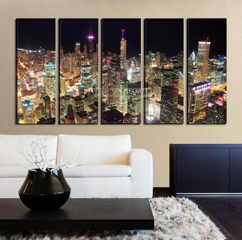 Large Wall Art CHICAGO Canvas Print - Colorful Light at night in Chicago-Wall Art Canvas-Extra Large Wall Art Canvas Print-Extra Large Wall Art Canvas Print