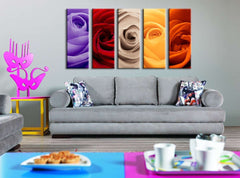 Large Wall Art Colorful Mixed Rose Canvas Art Prints, 5 Panels Framed Ready to Hang, Cherry Blossom Prints On Canvas, 100% Quality Prints-Wall Art Canvas-Extra Large Wall Art Canvas Print-Extra Large Wall Art Canvas Print