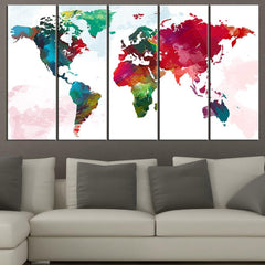 Large Wall Art Colorful View of the WORLD MAP Canvas Print - Watercolor World Map 5 Piece Canvas Art Print - Colorful World Map-Wall Art Canvas-Extra Large Wall Art Canvas Print-Extra Large Wall Art Canvas Print