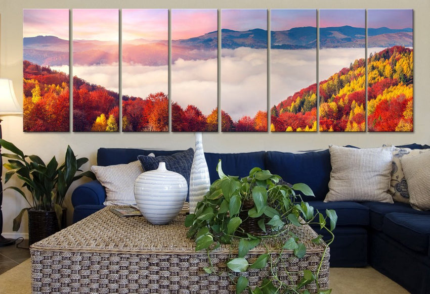 Large Wall Art Colourful Autumn Above Clouds Canvas Art Print 8 Panel Mountains Landscape Red Tree Large CANVAS - MC108-Wall Art Canvas-Extra Large Wall Art Canvas Print-Extra Large Wall Art Canvas Print