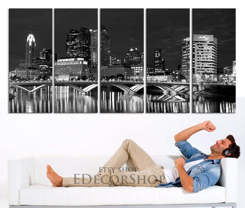 Large Wall Art Columbus Ohio Skyline night Downtown Canvas Print - Wonderful Ohio at Night City Art Canvas-Wall Art Canvas-Extra Large Wall Art Canvas Print-Extra Large Wall Art Canvas Print