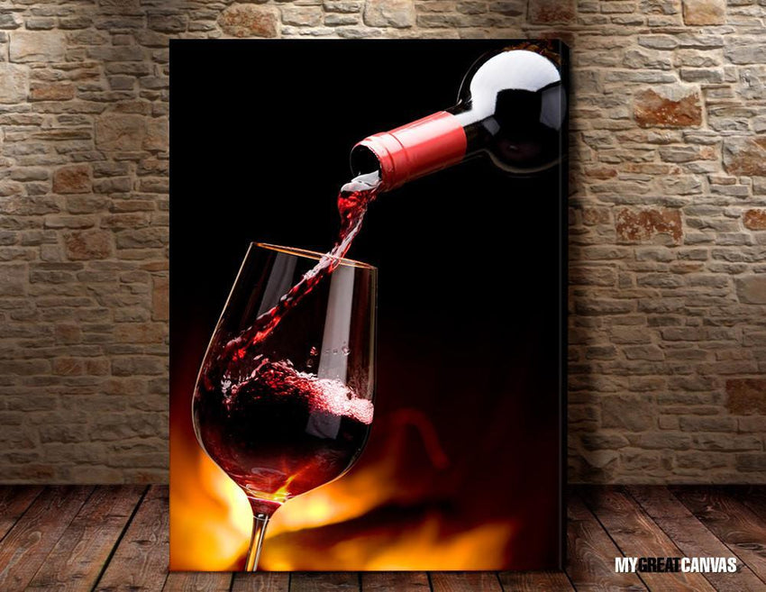 Large Wall Art Filling Red Wine From Wine Bottle Giclee Canvas Art Print | Wineglass Art Canvas Print - Large Size Wall Art-Wall Art Canvas-Extra Large Wall Art Canvas Print-Extra Large Wall Art Canvas Print