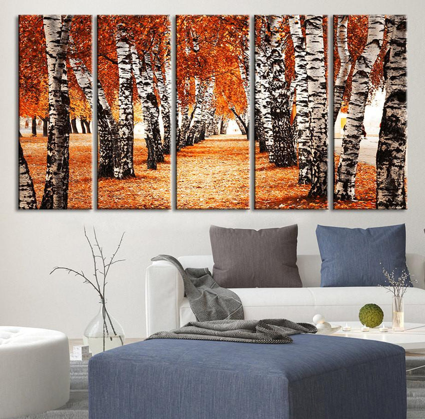 Large Wall Art Forest Canvas Print - Walking Through Yellow Trees - Framed Ready to Hang, Autumn Prints On Canvas-Wall Art Canvas-Extra Large Wall Art Canvas Print-Extra Large Wall Art Canvas Print