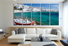 LARGE Wall Art Greece Mykonos Town Canvas Print - Santorini Houses Wall Art Canvas Print - MC166-Wall Art Canvas-Extra Large Wall Art Canvas Print-Extra Large Wall Art Canvas Print