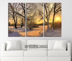 Large Wall Art Landscape Canvas Print Sunrise in Forest in Winter 3 Panel Wall Art Print - Winter Forest Large Canvas Printing-Wall Art Canvas-Extra Large Wall Art Canvas Print-Extra Large Wall Art Canvas Print