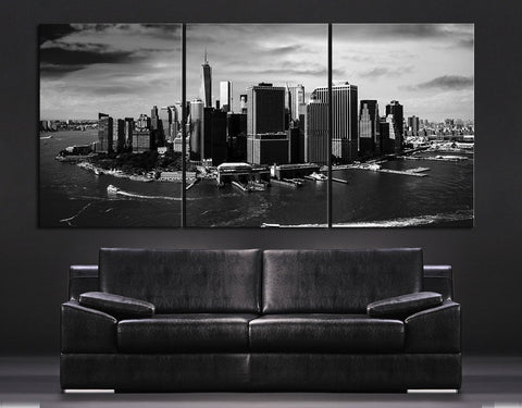 LARGE Wall Art Large Canvas Art Print Skyline New York Manhattan + Aerial view of New York Canvas Art Printing - MC221-Wall Art Canvas-Extra Large Wall Art Canvas Print-Extra Large Wall Art Canvas Print