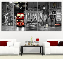 Large Wall Art London City Night Skyline and Red Bus Canvas Printing MC02-Wall Art Canvas-Extra Large Wall Art Canvas Print-Extra Large Wall Art Canvas Print