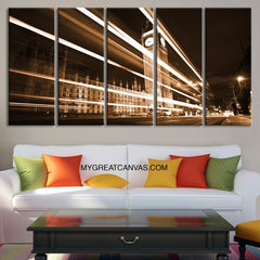 Large Wall Art London Night and Lights Canvas Print | London Clock Tower Big Ben Art Canvas | Large Size 5 Panel London Landscape Print-Wall Art Canvas-Extra Large Wall Art Canvas Print-Extra Large Wall Art Canvas Print