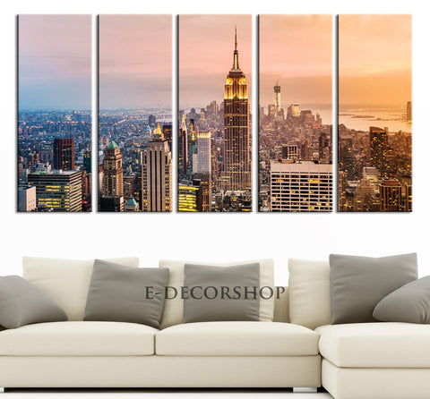 LARGE Wall Art Manhattan (New York) Landscape Large Canvas Art Print, Empire State Building, Great Print, Landscape Canvas Prints-Wall Art Canvas-Extra Large Wall Art Canvas Print-Extra Large Wall Art Canvas Print
