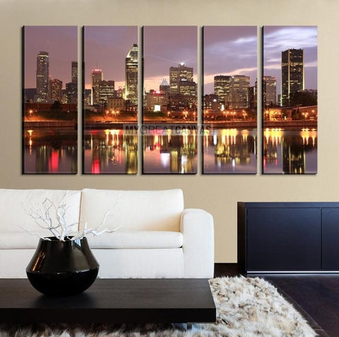 Large Wall Art MONTREAL Canvas Print - Montreal Skyline Colorful Reflection on Water-Wall Art Canvas-Extra Large Wall Art Canvas Print-Extra Large Wall Art Canvas Print