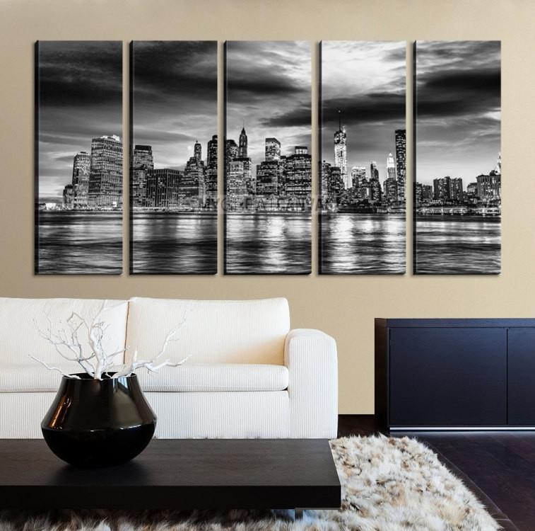Large Wall Art NEW YORK Canvas Prints - Black and White New York City over Sea Taken-Wall Art Canvas-Extra Large Wall Art Canvas Print-Extra Large Wall Art Canvas Print