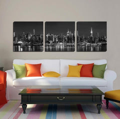 Large Wall Art NEW YORK Canvas Prints - Black and White Panoramic View of New York City from Manhattan-Wall Art Canvas-Extra Large Wall Art Canvas Print-Extra Large Wall Art Canvas Print