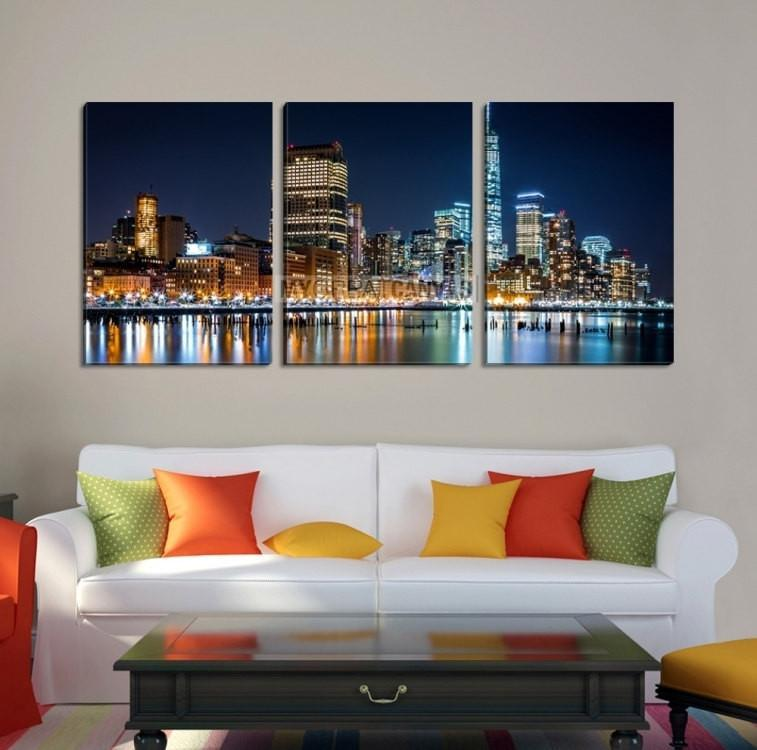 Large Wall Art NEW YORK Canvas Prints - New York City at Night with Colorful Lights-Wall Art Canvas-Extra Large Wall Art Canvas Print-Extra Large Wall Art Canvas Print