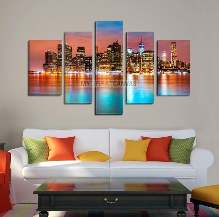 Large Wall Art NEW YORK Canvas Prints - New York City Buildings Between Colorful Sky and Colorful Water-Wall Art Canvas-Extra Large Wall Art Canvas Print-Extra Large Wall Art Canvas Print