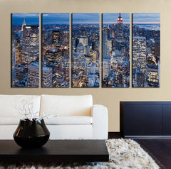 Large Wall Art NEW YORK Canvas Prints - New York City from Sky at Dusk-Wall Art Canvas-Extra Large Wall Art Canvas Print-Extra Large Wall Art Canvas Print