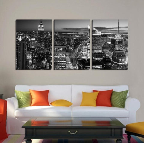 Large Wall Art NEW YORK Canvas Prints - New York City Skyline at Dusk with Skyscrapers (Black and White) - MC201-Wall Art Canvas-Extra Large Wall Art Canvas Print-Extra Large Wall Art Canvas Print