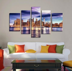 Large Wall Art NEW YORK Canvas Prints - New York City Skyline over Sea Taken-Wall Art Canvas-Extra Large Wall Art Canvas Print-Extra Large Wall Art Canvas Print