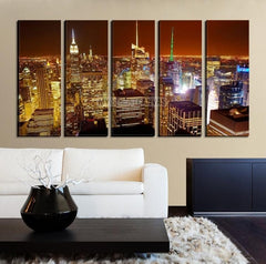 LArge Wall Art NEW YORK Canvas Prints - New York City Skyline with Red Sky at Dusk-Wall Art Canvas-Extra Large Wall Art Canvas Print-Extra Large Wall Art Canvas Print