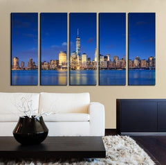 Large Wall Art NEW YORK Canvas Prints - New York Skyline from Manhattan Side at Dusk-Wall Art Canvas-Extra Large Wall Art Canvas Print-Extra Large Wall Art Canvas Print
