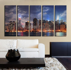 Large Wall Art NEW YORK Canvas Prints - New York Skyline from Manhattan Side in the Evening-Wall Art Canvas-Extra Large Wall Art Canvas Print-Extra Large Wall Art Canvas Print