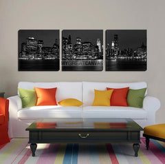 Large Wall Art NEW YORK Canvas Prints - Panoramic View of New York City at Night Taken over Sea-Wall Art Canvas-Extra Large Wall Art Canvas Print-Extra Large Wall Art Canvas Print