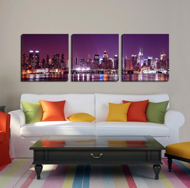 Large Wall Art NEW YORK Canvas Prints - Purple Night in New York City-Wall Art Canvas-Extra Large Wall Art Canvas Print-Extra Large Wall Art Canvas Print