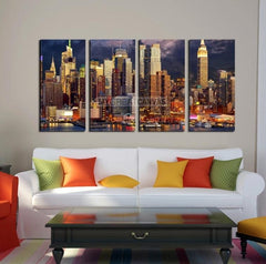 Large Wall Art NEW YORK Canvas Prints - Tall New York Skyscrapers at Dusk-Wall Art Canvas-Extra Large Wall Art Canvas Print-Extra Large Wall Art Canvas Print