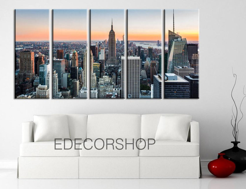 LARGE Wall Art New York - Manhattan Landscape Large Canvas Art Print, Ready Hanging, Great Print, Landscape Canvas Prints - MC51-Wall Art Canvas-Extra Large Wall Art Canvas Print-Extra Large Wall Art Canvas Print