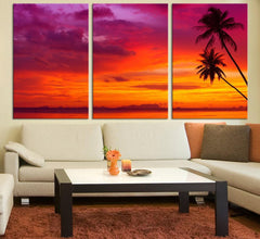 Large Wall Art Palm and Sunset on the Beach Canvas Print - Contemporary 3 Panel Triptych Purple Sunset Canvas Art Large Wall Art-Extra Large Wall Art Canvas Print