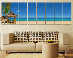 "Large Wall Art Palm on the Beach Canvas Art Print 8 Panel Beach and Sea Landscape 100"" x 32"" Large CANVAS-Extra Large Wall Art Canvas Print"