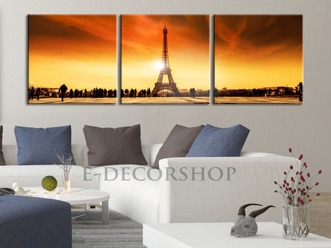Large Wall Art Panoramic Eiffel Tower at Sunset Landscape on Canvas - Eiffel Tower Canvas Print, Paris Eiffel Decor Theme-Wall Art Canvas-Extra Large Wall Art Canvas Print-Extra Large Wall Art Canvas Print