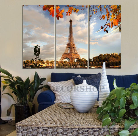 LARGE Wall Art Paris Eiffel Tower Landscape Canvas Print + Autumn Paris Red Leaves Canvas Print + 3 Panel Paris Canvas-Wall Art Canvas-Extra Large Wall Art Canvas Print-Extra Large Wall Art Canvas Print