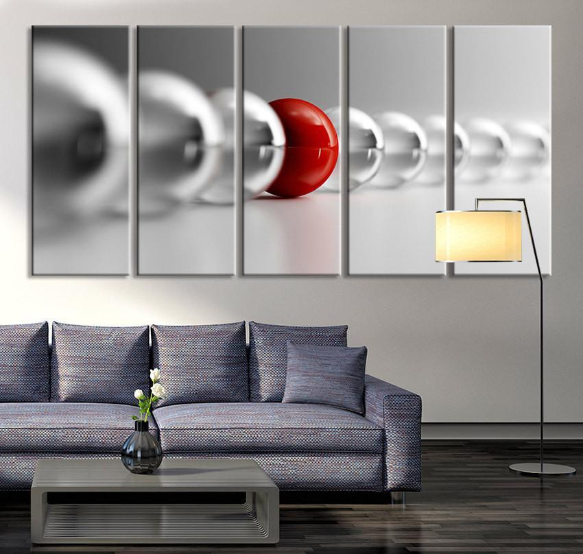 Large Wall Art - Red Ball in Gray Balls Canvas Art Print, Large Wall Art Black White Different Art, Grey Balls Wall Art Print-Wall Art Canvas-Extra Large Wall Art Canvas Print-Extra Large Wall Art Canvas Print