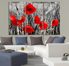 Large Wall Art Red Poppy Canvas Print Ready to Hang 3 Panels Stretched on Deep 3cm Frame-Wall Art Canvas-Extra Large Wall Art Canvas Print-Extra Large Wall Art Canvas Print