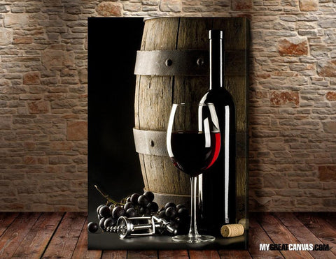 Large Wall Art Red Wine and Wine Barrel Giclee Canvas Art Print | Wineglass Art Canvas Print - Large Size Wall Art-Wall Art Canvas-Extra Large Wall Art Canvas Print-Extra Large Wall Art Canvas Print