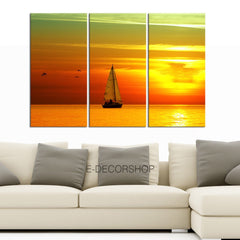 Large Wall Art Sailing Boat on Sea and Sunset Canvas Prints - Large Art Canvas Printing - Wall Art Canvas-Extra Large Wall Art Canvas Print