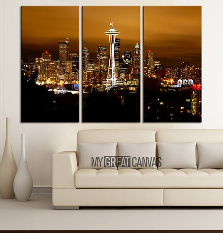 Large Wall Art Seattle Canvas Print - 3 Panel Ready Hang - Gicle - Seattle Night Skyline - Seatle Panorama Canvas Print-Wall Art Canvas-Extra Large Wall Art Canvas Print-Extra Large Wall Art Canvas Print