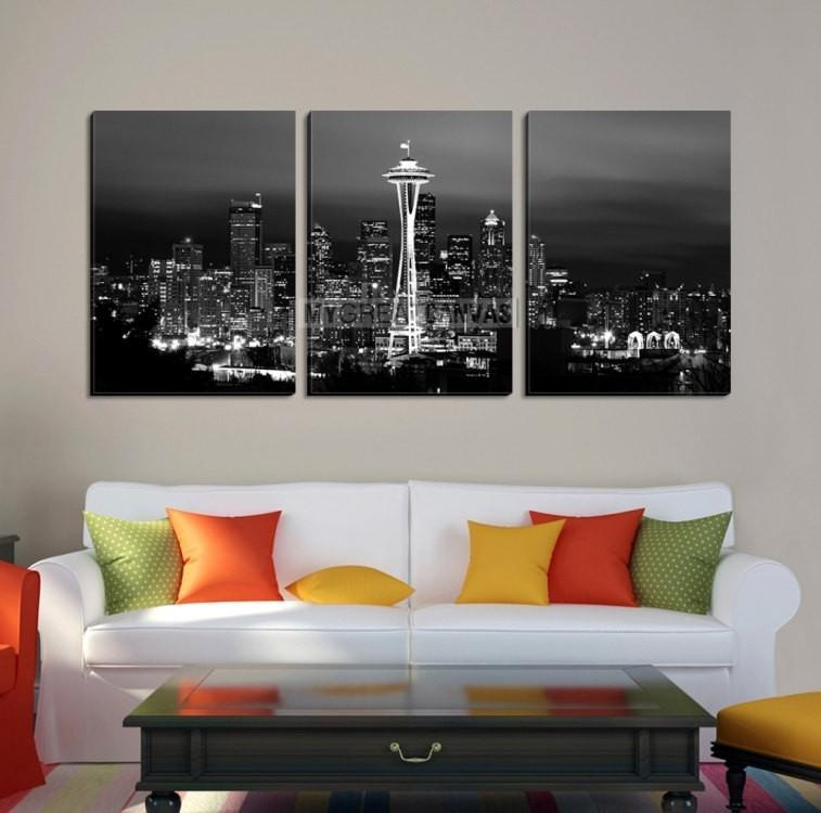 Large Wall Art Seattle Canvas Print - Black and White Seattle Landscape-Wall Art Canvas-Extra Large Wall Art Canvas Print-Extra Large Wall Art Canvas Print