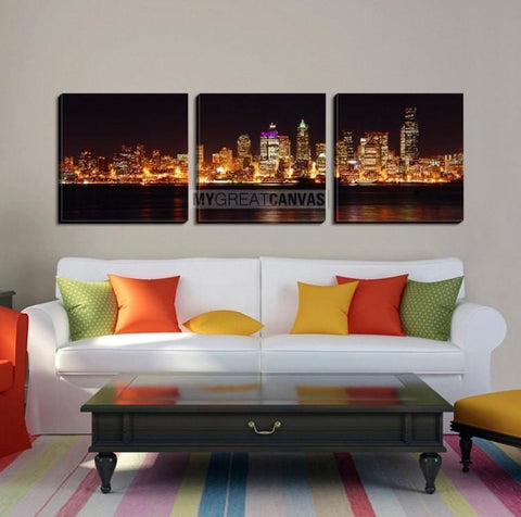 Large Wall Art SEATTLE Canvas Print - Seattle City Landscape at Night with Water Reflection (Orange Version)-Wall Art Canvas-Extra Large Wall Art Canvas Print-Extra Large Wall Art Canvas Print