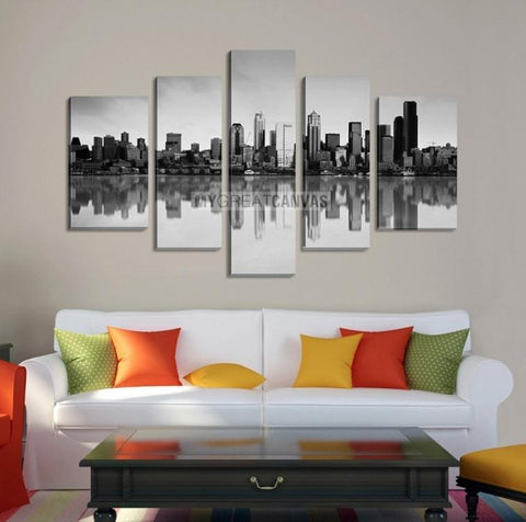Large Wall Art SEATTLE Canvas Print - Seattle City Landscape with Perfect Reflection of Buildings on Water (Gray Version)-Wall Art Canvas-Extra Large Wall Art Canvas Print-Extra Large Wall Art Canvas Print