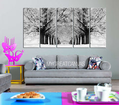 Large Wall Art Snowy Forest in Winter Canvas Print | Parkway Canvas Painting | Tree Canvas Print - MC197-Wall Art Canvas-Extra Large Wall Art Canvas Print-Extra Large Wall Art Canvas Print